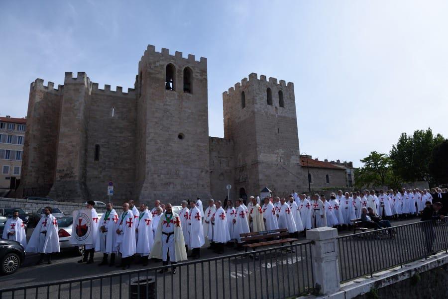 Retraite nationale Templiers Catholiques Lourdes 2019 – 1 – Sainte Messe dans l'abbaye de Saint-Victor, Marseille