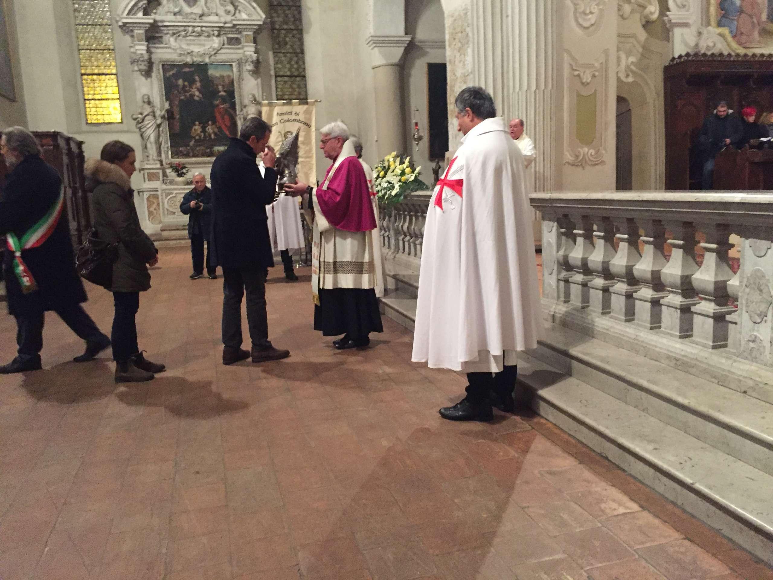 I Templari Cattolici d'Italia custodiscono la reliquia di S. Colombano e partecipano alla S. Messa celebrata dal Vescovo di Derry (Irlanda) nell'Abbazia di S. Colombano a Bobbio (PC)