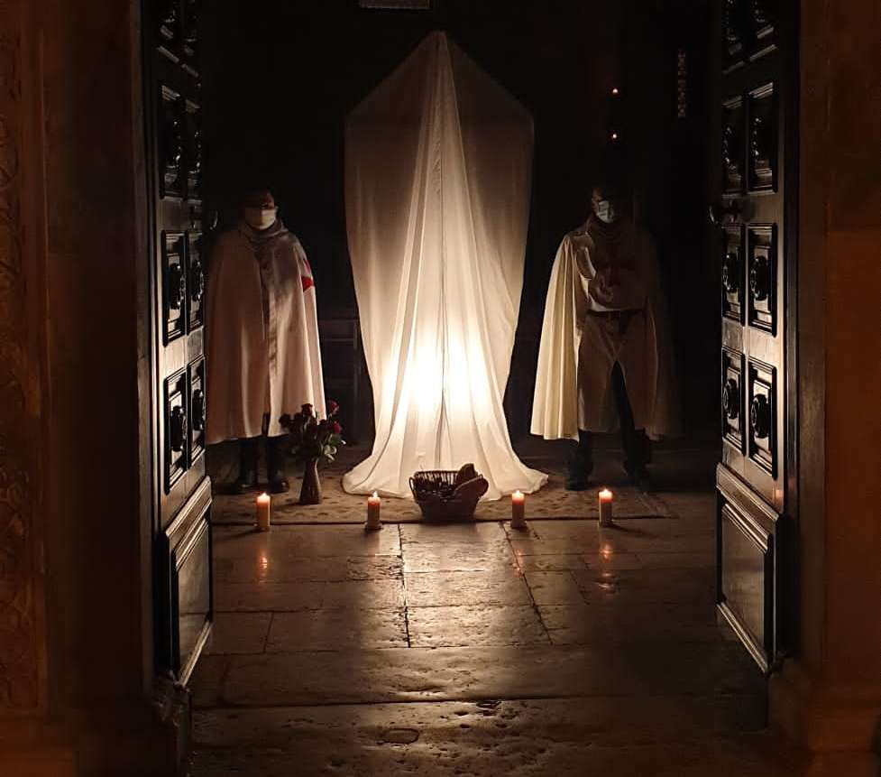 The Catholic Templars in service at the church of Ognissanti in Trani following the security provisions for the coronavirus