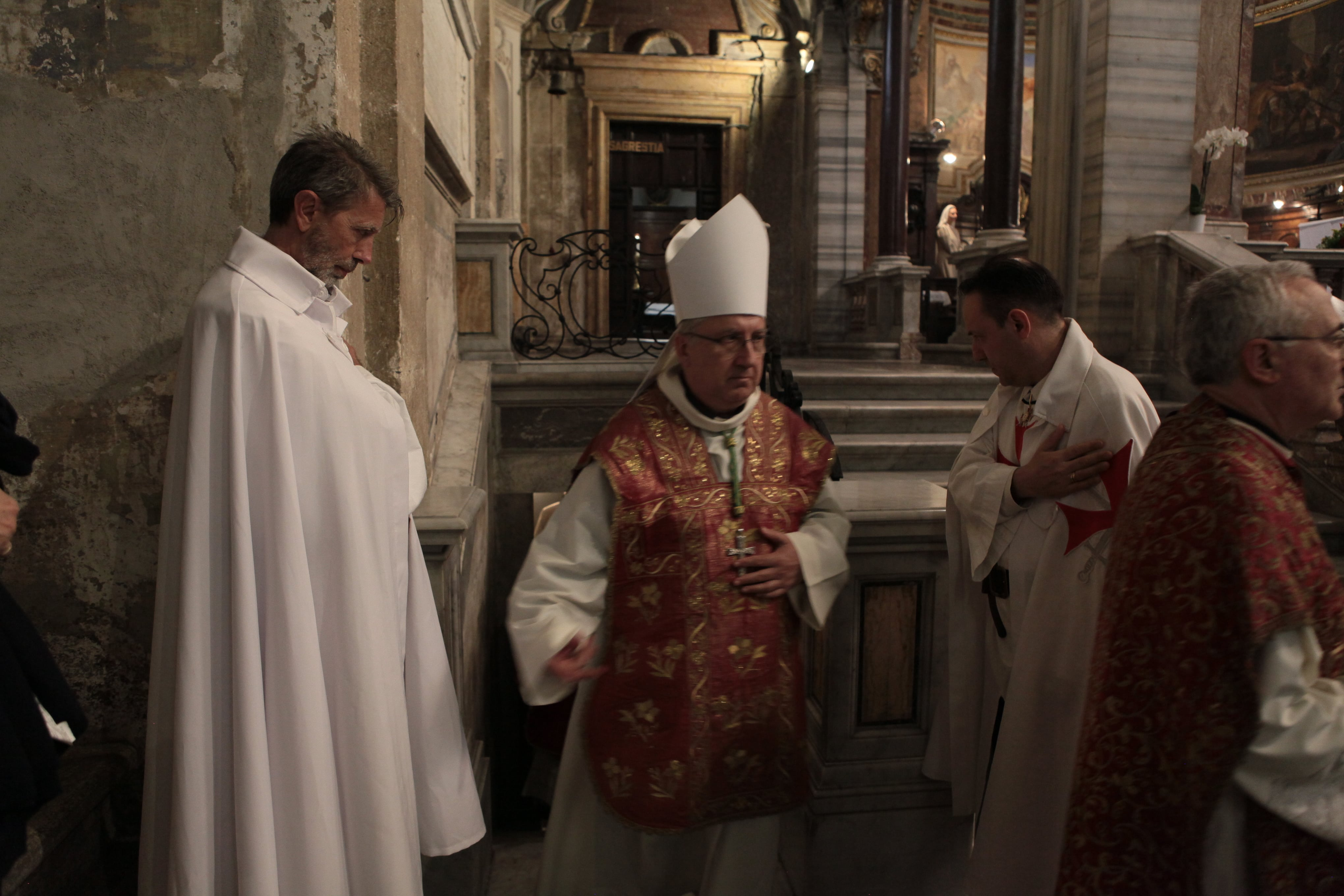 His Eminence Reverend Edwin Frederick Cardinal O'Brien Grand Master of the Equestrian Order of the Holy Sepulcher of Jerusalem celebrates Mass in the Basilica of San Marco Evangelista in Campidoglio