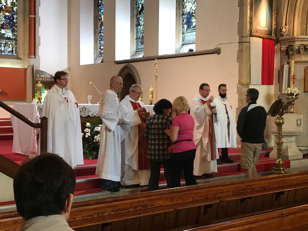 The Catholic Templars of the United Kingdom participate in the Eucharistic Celebration on the occasion of the Corpus Domini in Reading.